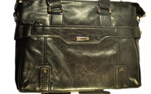 Молодежная мужская черная сумка с кожаным ремешком