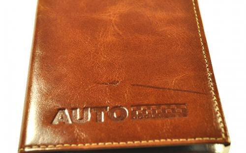Ярко-коричневые кожаные автодокументы Эльсаго