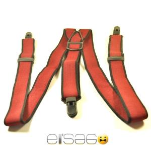 Красные подтяжки с тремя черными металлическими зажимами