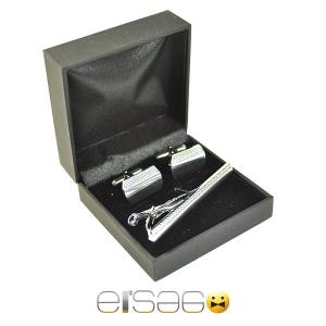 Серебряный рифленый зажим для галстука и запонки в подарочной коробке