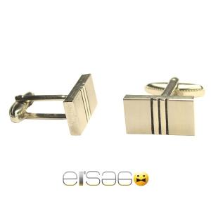 Серебряные мужские запонки форма брусок