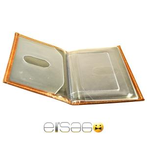 Ярко-коричневые кожаные автодокументы Эльсаго. Вид внутри