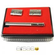 Подарочные запонки и зажим для галстука в красной коробке