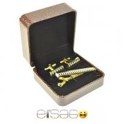 Золотые запонки и зажим для галстука в коричневой подарочной упаковке