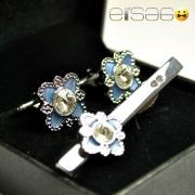 Серебряные запонки и зажим для галстука с формой цветка