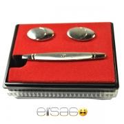 Подарочные круглые запонки и зажим для галстука в красной коробке