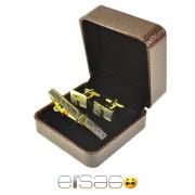 Рифленые запонки и зажим для галстука в коричневой подарочной упаковке