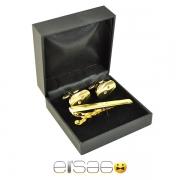 Золоченый зажим для галстука и запонки в подарочной коробке