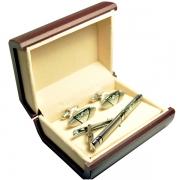 Овальные подарочные запонки и зажим для галстука серебро