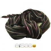 Черный мужской шарф с розовыми линиями