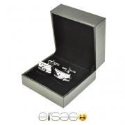 Удлиненные серебряные запонки в подарочной упаковке