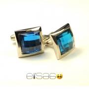 Стильные синие мужские запонки с вставкой стекла