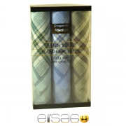 Зеленый, голубой и оливковый носовые платки в подарочной упаковке
