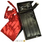 Черный свадебный кушак из шикарной атласной ткани