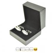 Овальные серебряные запонки в подарочной упаковке