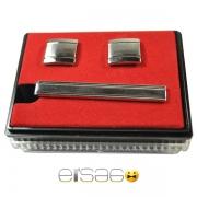 Классические запонки и зажим для галстука в красной подарочной упаковке