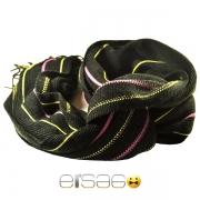 Черный мужской шарф с желтыми и розовыми полосками