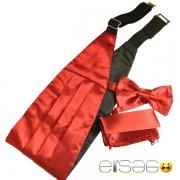 Красный свадебный кушак из шикарной атласной ткани