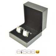 Мужские квадратные серебряные запонки в подарочной упаковке