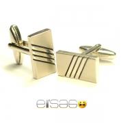 Серебряные мужские запонки в форме кирпичика