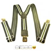 Зеленые в полоску мужские подтяжки с металлическими защипами