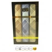 Желтый, синий, коричневый носовые платки в подарочной упаковке