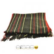 Черный мужской шарф с красно-желтыми полосками