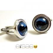 Синие круглые запонки Эльсаго металл