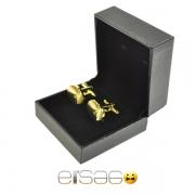 Золотые овальные запонки в подарочной упаковке