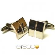 Квадратные овальные мужские запонки Эльсаго