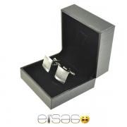 Серебрянные рифленые запонки в подарочной упаковке