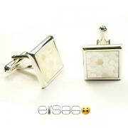 Квадратные запонки Эльсаго стиль пчелиные соты