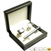 Серебрянные деловые запонки с зажимом для галстука в подарок