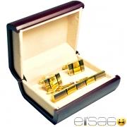 Светло-золотые серебряные запонки и зажим для галстука
