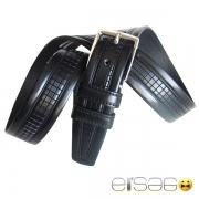 Черный мужской кожаный ремень стиль кубики