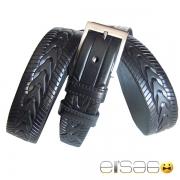 Черный футуристичный кожаный ремень с классической пряжкой