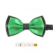 Зеленая галстук-бабочка с черным обрамлением