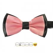 Розовая галстук-бабочка с черным обрамлением