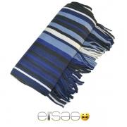 Синий с черно-белыми полосками теплый шарф