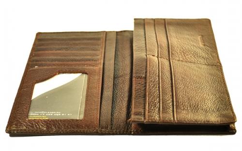 Коричневое портмоне (кошелек) для кредитных карт, денежных купюр, визиток