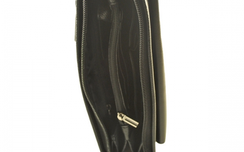 Мужская классическая кожаная барсетка черного цвета