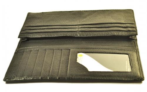 Черное портмоне (кошелек) для кредитных карт, денежных купюр, визиток