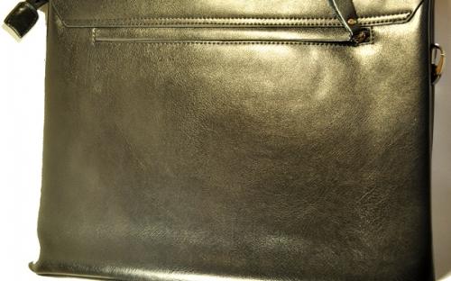 Деловая мужская черная сумка из плотной кожи