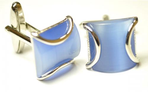 Серебрянные запонки Эльсаго цвета голубой волны