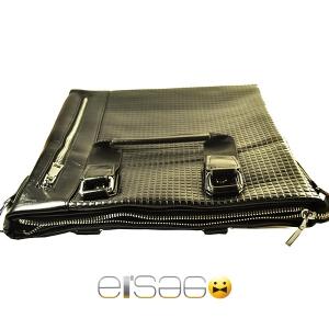 Мужская черная сумка с объемной кубической кожей