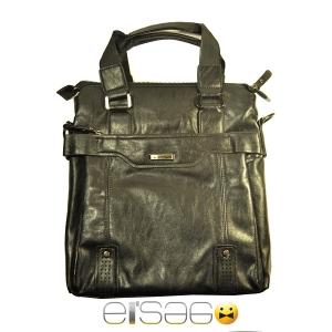 Модная мужская черная сумка из мягкой кожи