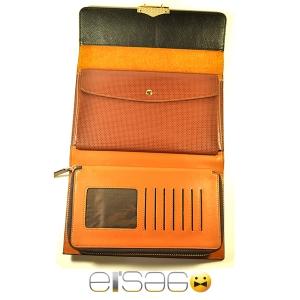 Шикарная кожаная барсетка черного цвета с внутренней отделкой оранжевого цвета