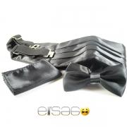 Черный свадебный кушак из атласной ткани