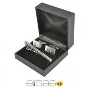 Серебрянный зажим для галстука и запонки в подарочной коробке