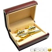 Подарочные запонки и зажим галстука в золоте